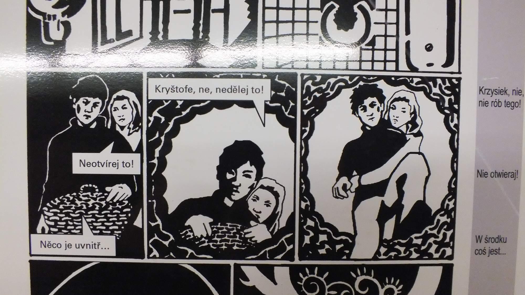 Jedním z vystavených komiksů je obrázková adaptace románu Chyba od Marka Šindelky. Foto: Nikola Pavlasová