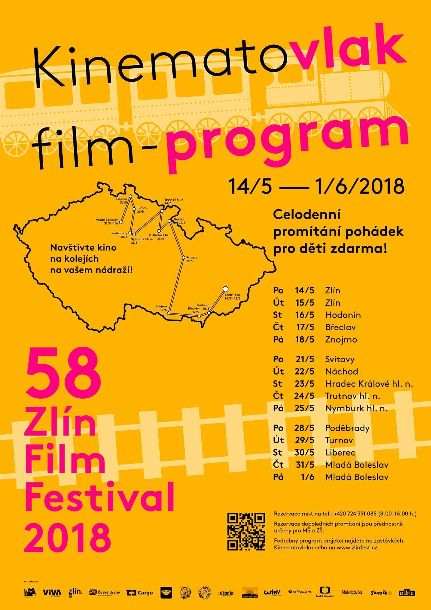 Trasa Kinematovlaku. Plakát: oficiální stránky Zlín Film Festivalu