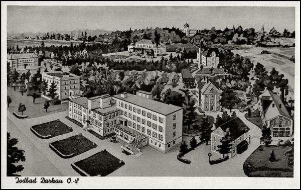Archivní plánek areálu Lázní Darkov. Společenský dům je v horní části obrázku.